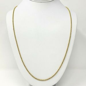 10k Gold Hollow 2mm Rope Chain Necklace 27.5""